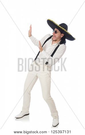Man wearing mexican sombrero isolated on white