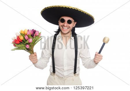 Smiling mexican with flowers and microphone isolated on white