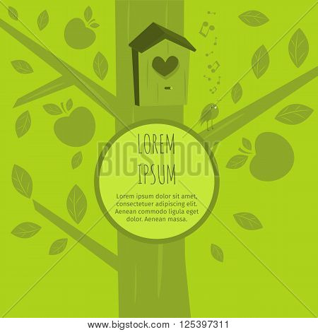 Ecological background with a bird. Greeting card with bird. Ecology concept. Ecology vector. Ecology background. Apple tree. nesting box.