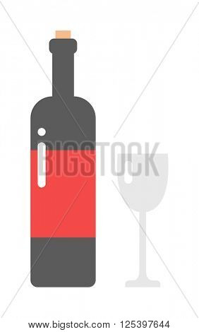 Glass and bottle of wine drink alcohol beverage winery cabernet design vector illustration.