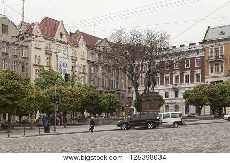 LVIV UKRAINE - MAY 5 2013: Monument to King Danilo in Lviv Galicki square