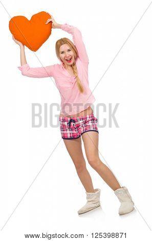 Pretty girl holding orange cushion isolated on white