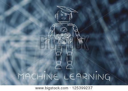 Funny Robot With Graduation Hat, Machine Learning