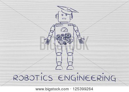 Funny Robot With Graduation Hat, Robotics Engineering