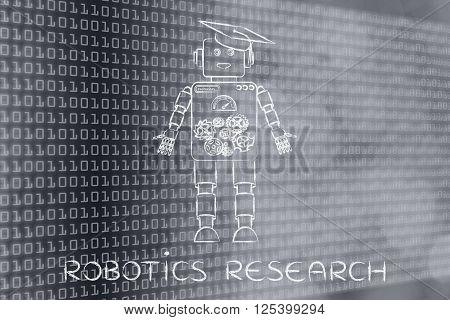 Funny Robot With Graduation Hat, Robotics Research