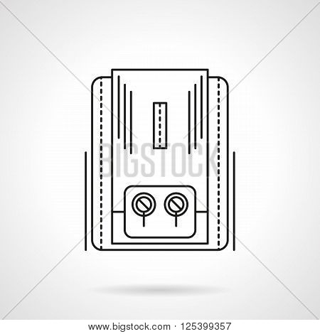Gas or electrical heater appliance with two switches for home climate regulation. Water boiling. Flat line style vector icon. Single design element for website, business.