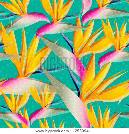 Bird of paradise flower background retro seamless pattern in vibrant colors ideal for summer time season. EPS10 vector.