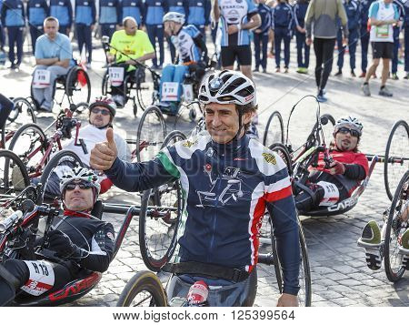Rome Italy - April 10 2016: Alex Zanardi prepares for the race before the start of the hand bike race of 22 ^ Rome Marathon win to the record category.