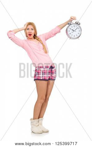 Pretty blondie girl holding alarm-clock isolated on white