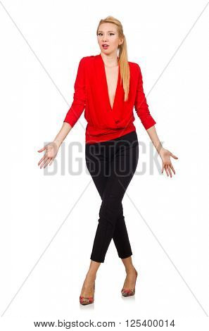 Blond caucasian woman in red blouse isolated on white