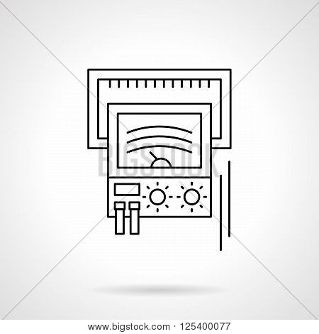 Voltage indicator indication. Device for test of electrical components and equipment. Measuring tools. Flat line style vector icon. Single design element for website, business.