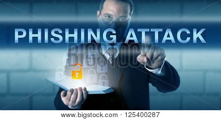 Corporate security trainer pushing PHISHING ATTACK on an interactive touch screen. Business challenge metaphor and information technology concept for malicious attempt to lure an internet user.