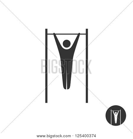 Pull Up Man Silhouette Black Icon. Horizontal Street Bar Hang Pulling Symbol.