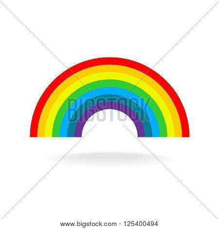 Rainbow Symbol. Seven Flat Colors. Isolated On A White Background.