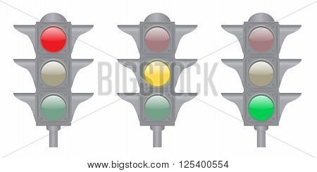 Set of green yellow and red lights isolated on the white background
