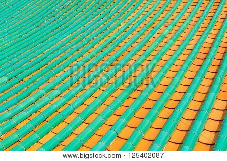 Painted Roof Tiles On A Chinese Buddhist Temple