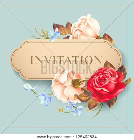 Romantic card with roses. Vector illustration.