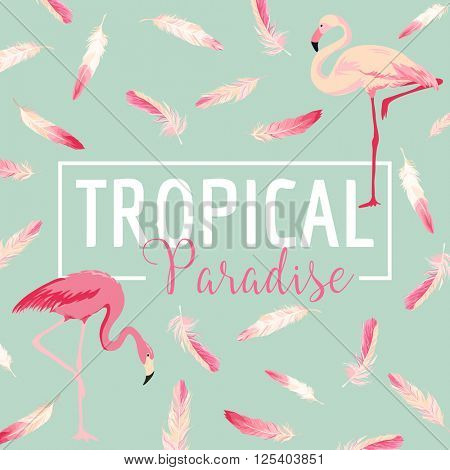 Tropical Bird. Flamingo Background. Summer Design. Vector. T-shirt Fashion Graphic.