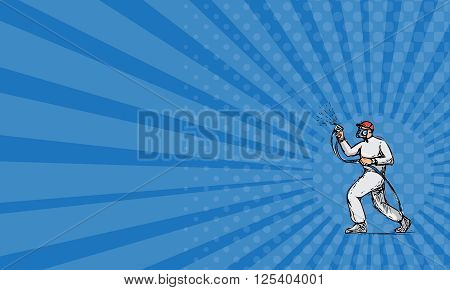 Business card showing Drawing sketch style illustration of spray painter holding spray gun painting viewed from the side set on isolated white background.