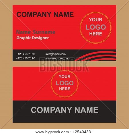Vector illustration of creative business card mockup