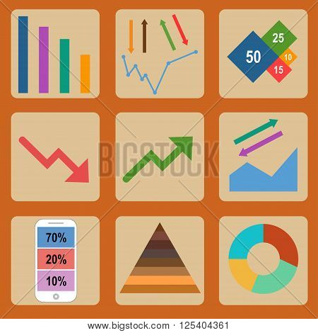 The vector illustration Flat design icons for business and finance