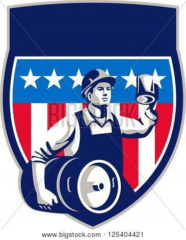 Illustration of an American builder construction worker wearing hardhat holding a beer mug toasting while carrying beer keg set inside crest shield with USA stars and stripes on isolated white background done in retro style.