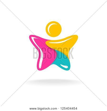 Man In A Star Shape Colorful Logo. Color Parts With White Flash Lines. Jelly Style Sign.