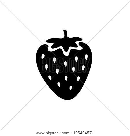 Strawberry Simple Black Icon. One Color Simple Cartoon Style.