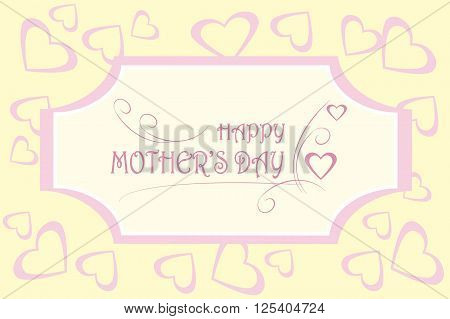 Greeting card Happy Mother's day. Pink typing on light background, hearts on light yellow, decorative, vector