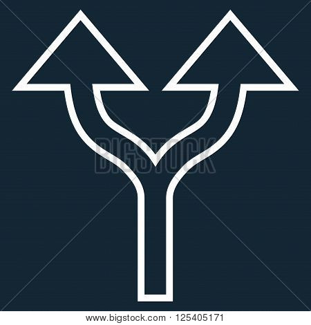Split Arrows Up vector icon. Style is contour icon symbol, white color, dark blue background.