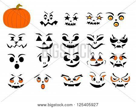 Pumpkin various interchangeable faces, vector, png format
