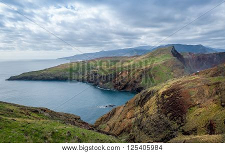 Beautiful landscape of mountains and hills in the east of Madeira island. Winter season an Madeira, Portugal.
