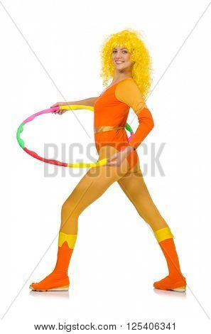 Woman with hula hoop isolated on white