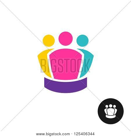 Three People Together Logo. Team Colorful Symbol. King Crown Shape Silhouette Idea.