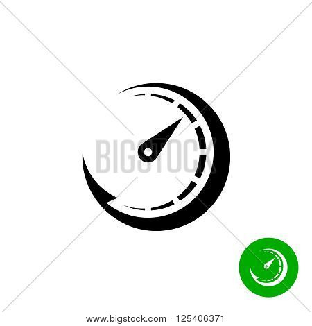 Timer Black Icon. Scale Indicator Fast Growth. Speed Logo.