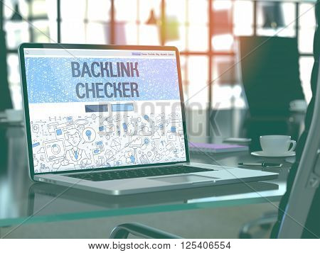 Backlink Checker Concept - Closeup on Landing Page of Laptop Screen in Modern Office Workplace. Toned Image with Selective Focus. 3D Render.