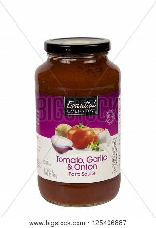 RIVER FALLS,WISCONSIN-APRIL 12,2016: A jar of of Tomato,Onion,and Garlic pasta sauce.