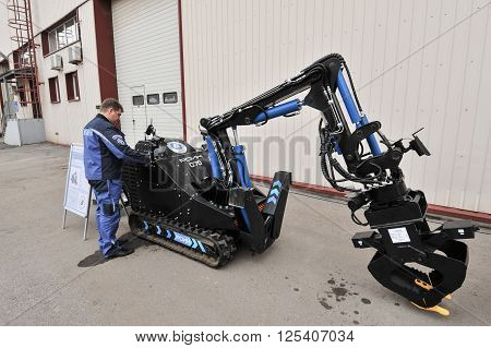 Saint-Petersburg Russia - April 6 2016: Robotics complex is designed for remote installation demolition rescue special missions in the liquidation of the radiation accident