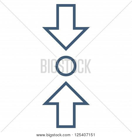 Compress Vertical vector icon. Style is thin line icon symbol, blue color, white background.