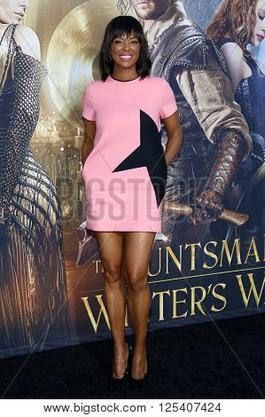 Aisha Tyler at the Los Angeles premiere of 'The Huntsman: Winter's War' held at the Regency Village Theatre in Westwood, USA on April 11, 2016.