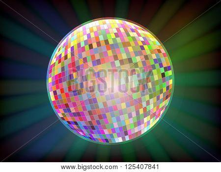 Vector image Disco ball. Disco color ball background