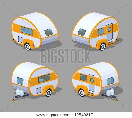 Retro motor home. 3D lowpoly isometric vector illustration. The set of objects isolated against the grey background and shown from different sides