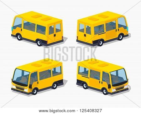 Yellow passenger minivan. 3D lowpoly isometric vector illustration. The set of objects isolated against the white background and shown from different sides