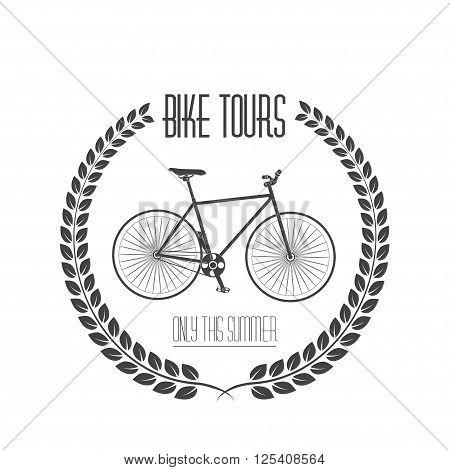 Bicycle tours label, logo. Vintage monochrome vector illustration.