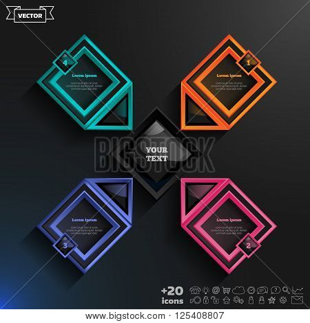 Vector infographics design with colorful rhombs on the black background. Business concept with 4 options parts steps. Can be used for graph diagram chart workflow layout number options web.