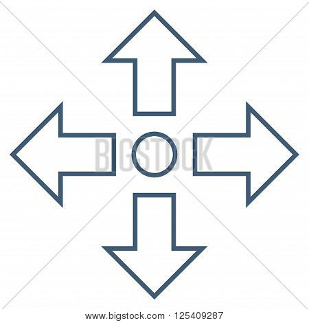 Maximize Arrows vector icon. Style is outline icon symbol, blue color, white background.