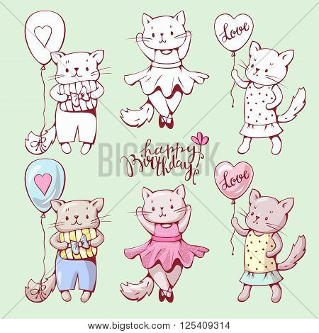 Illustration of funny cartoon kittens. Hand-drawn illustration. Vector set.