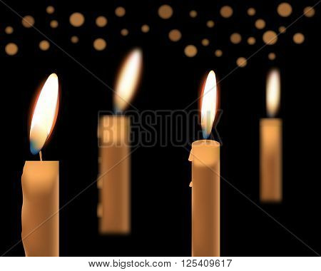 illustration of beautiful glowing candles with melted wax suitable for Halloween holidays