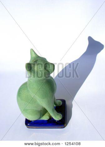 Green Cat In Bibelot