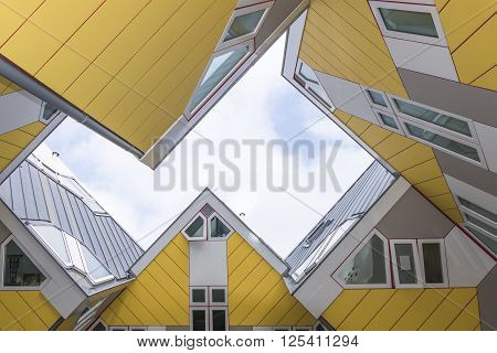 NETHERLANDS - ROTTERDAM - CIRCA APRIL 2016: Cube houses in Rotterdam designed by Piet Blom.